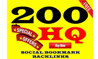 Add  200 powerful HQ social bookmarking backlinks
