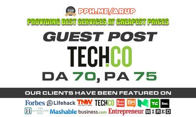 Guest post on Tech   Tech.co   DA70 PA75 TF 35 CF 48 with do follow link