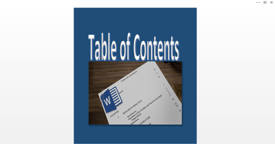 Create A Ms Word Table of Contents with Hyperlinks