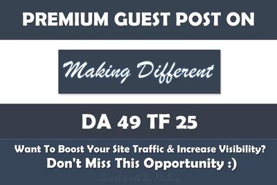 Write & Publish Guest Post on Making Different. Makingdifferent.com - DA41, PA50