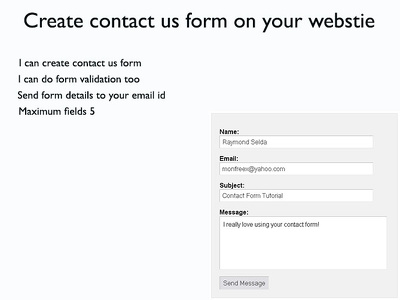 Create contact us form on your website