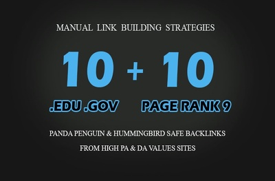 I will manually create 10 PR9 & 10 EDU GOV Backlinks From Authority Domains