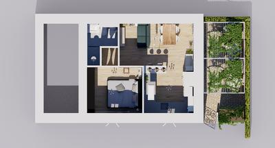 Make a detailed 3D floor plan rendering