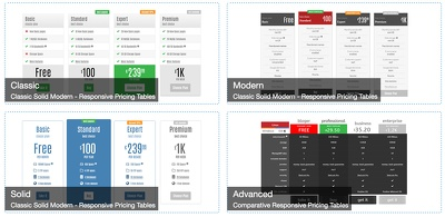 Wordpress responsive pricing or compare table