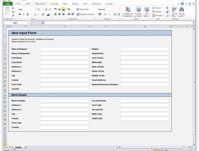 Create a simple one page input form with guidance and validation
