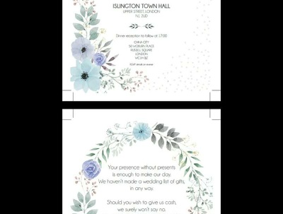 Custom design invitation sets PDF (weddings, baby announcements, order of service)