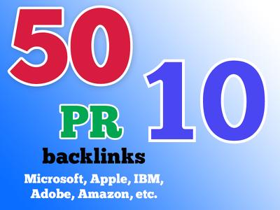 50 PR10 Niche Backlinks, 40days SEO