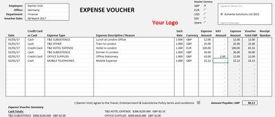 Create a company Excel Expense Voucher