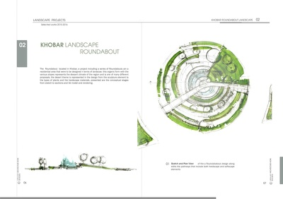 Produce a landscape design with freehand sketches and 3d renderings