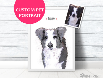 Paint a pet portrait from a photo of your pet in this modern minimal style