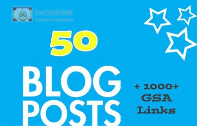 50 Blog Posts, and 1000+ GSA Links 3 tiers