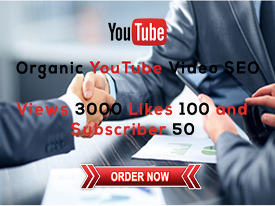 Organic promoto youtube video 3000 views+ 100 likes+ 50 Subscriber