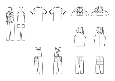 Do one garment design technical drawings (front and back, B&W)