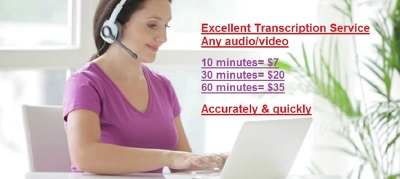 Transcribe English audio/video upto 30min. accurately, 24hrsTAT