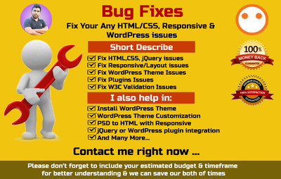 Fix WordPress ,Html, Css, JQuery And Responsive Issues