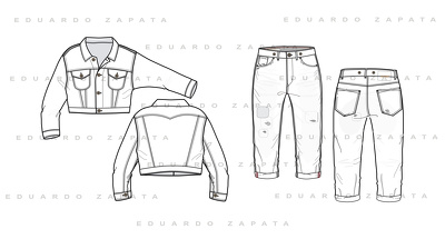 Create 2 fashion technical sketches