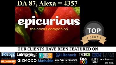 Guest post on epicurious epicurious.com DA 87 Food Blog