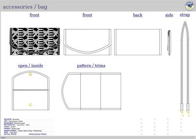 Technical design pack for factory to sample from, with full specifications