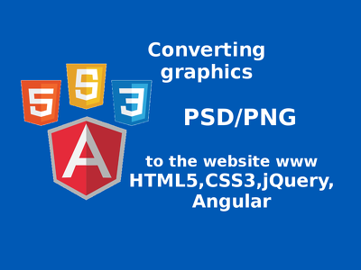 Convert PSD/PNG to responsive HTML5/CSS3 using Bootstrap, JavaScript