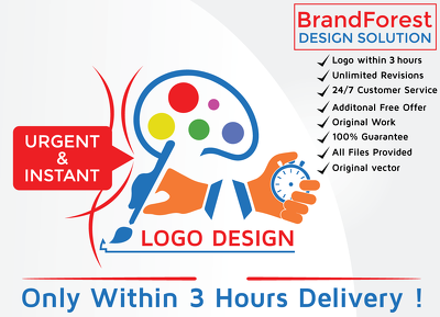 Design urgent logo (3 hours only) + Source File+original vector+Unlimited Revisions