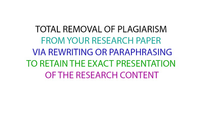 Total removal of plagiarism from up to 300 words research paper