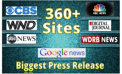 Press Release & Submission To 360 News Sites And Premium Sites