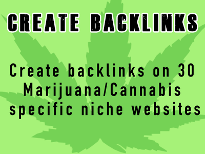 Create 30 links on individual sites to promote your medical marijuana business