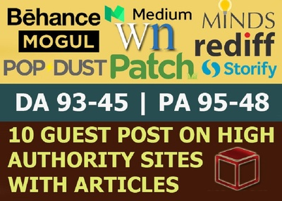 Write & Publish 10 X High Authority Guest Post [DA 50-93] [Limited Offer]