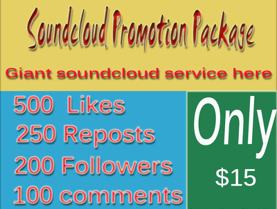 Promote your soundcloud profile with 500 likes 250 reposts 200 Follwoers 100 comments