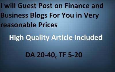 Guest post on Finance/Business blogs DA 20 - 40, TF 5 - 20