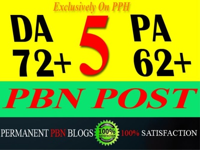 """PROVIDE PERMANENT POWERFUL PBN BLOGS WITH HIGH """" DA-72+ & PA-62+ """""""