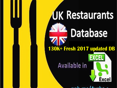 Provide UK restaurant database 130K plus in excel format (40,000+ Emails)