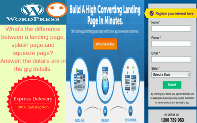 Create landing,splash and squeeze pages for ad
