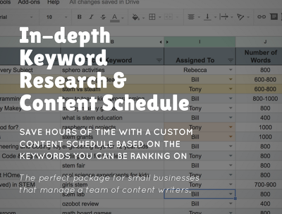 Premium, in-depth keyword research and SEO content schedule