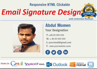 HTML Clickable Email Signature Design