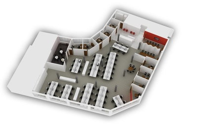Render a high quality 3D floorplan of residential, retail or commercial layout