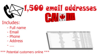 Deliver 1500 email addresses from Canada