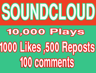 Provide you 10000 Soundcloud Plays 1000+ Likes 500+ Reposts 100+Comments