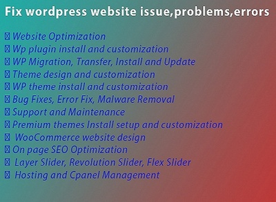 Fix WordPress Website Problems And Issues And Errors
