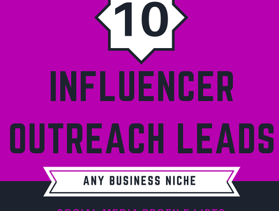 Source 10 Influencer Social Media Profiles in any Business Niche