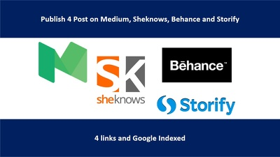 Write And Guest Publish 4 Post on Medium, Sheknows, Behance and Storify