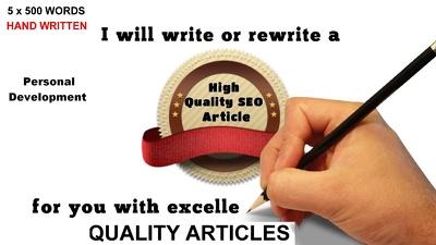 Write 5 Articles ,blogposts  500 Words Each UNIQUE and Pass Copyscape