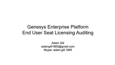 Provide a full service of Genesys Enterprise Seat License Technical Auditing