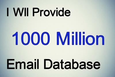 Provide huge database of 1000 Million emails in excel format
