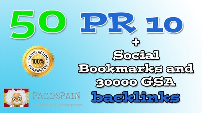 50 PR10 Social Bookmarks & 30000 GSA backlinks tier 2 as extra