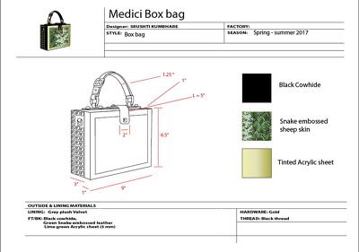 Create factory sheets for your handbag design