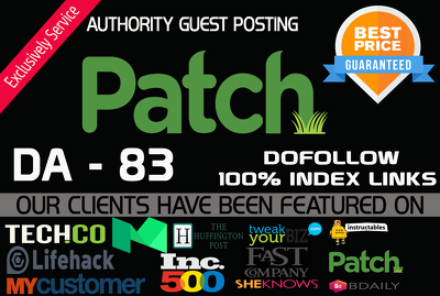 Publish a guest post on PATCH DA  83 With Dofollow Link