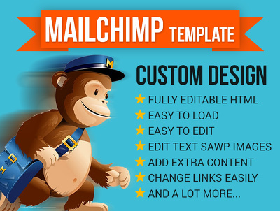 Design editable MAILCHIMP Email template or HTML newsletter with Cutom Design.