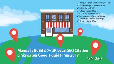 Manually Build 50 + UK Local SEO Citation Links as per Google guidelines 2017