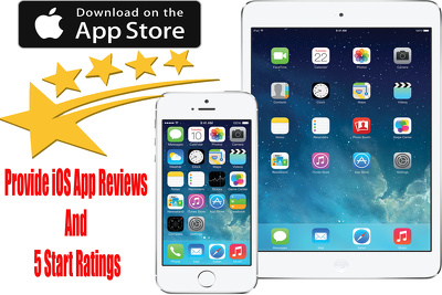 Install  iOS apps and provide   15  5 star ratings and Honest reviews